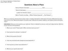 Questions About a Place Worksheet