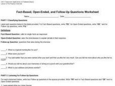 Fact-Based, Open-Ended, and Follow-Up Questions Worksheet Worksheet