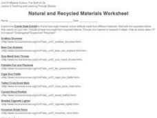 Natural and Recycled Materials Worksheet Worksheet