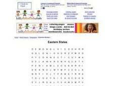 Eastern States Word Search Worksheet