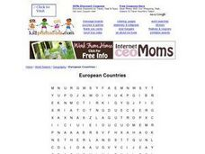 European Countries Word Search Worksheet