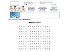 Western States Word Search Worksheet