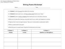 Writing Poems Worksheet Worksheet