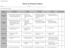 Rubric for Research Papers Worksheet