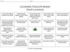 Louisiana Folklife Bingo (South Louisiana) Worksheet