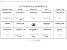 Louisiana Folklife Bingo Worksheet