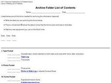 Archive Folder List of Contents Worksheet
