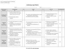 Listening Logs Rubric Worksheet