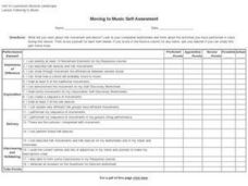 Moving to Music Self-Assessment Worksheet