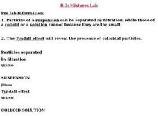 Mixtures Lab Lesson Plan