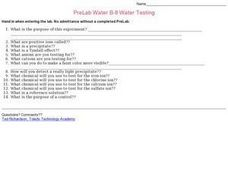 Water Testing Worksheet