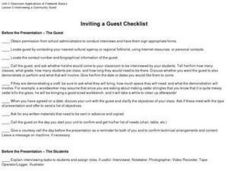 Inviting a Guest Checklist Worksheet