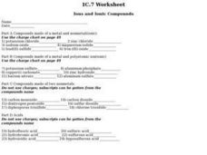 Ions and Ionic Compounds Worksheet