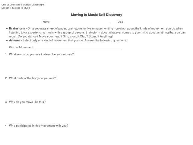 Moving to Music Self-Discovery Worksheet