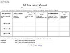 Folk Group Inventory Worksheet Worksheet