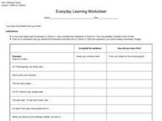 Everyday Learning Worksheet- Folklife Worksheet