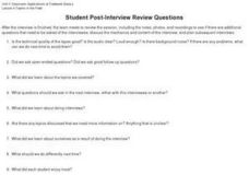 Student Post-Interview Review Questions Worksheet