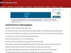 Actual Errors in Newspapers Worksheet