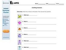 Clothing Answers Worksheet