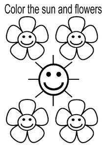 Color the Sun and Flowers Worksheet