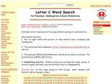 Letter C Word Search Lesson Plan