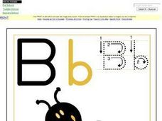 B is For Bee-  Printing Upper and Lower Case Letter Bb Worksheet