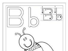 "Bee-  Printing Letter B and the Word ""Bee"" Worksheet"