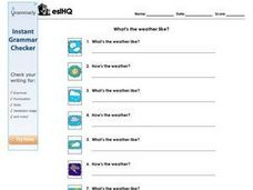 ESL: What's the Weather Like? Worksheet