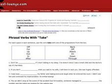 "Phrasal Verbs With ""Take"" Worksheet"