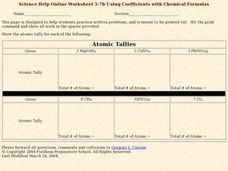 Using Coefficients with Chemical Formulas Worksheet