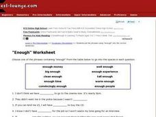 "Use of the Word ""Enough"" Fill In the Blank Worksheet Worksheet"