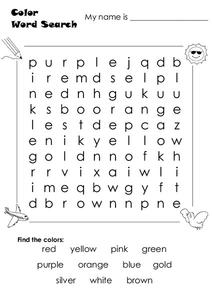 Color Word Search Worksheet
