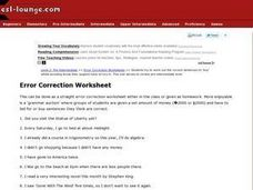 Error Correction Worksheet Worksheet