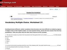 Vocabulary Multiple Choice Worksheet 27 Worksheet