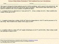Combined Gas Law Calculations Worksheet