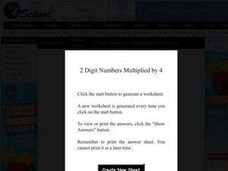 EZ School: Math, Number Sense, Multiplication Worksheet