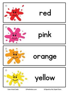 Color Word Cards Printables & Template