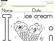 I Is For Ice Cream: Printing Letter I Worksheet