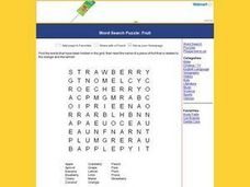 Word Search Puzzle:  Fruit Worksheet