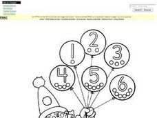Clown Coloring and Counting to Six Worksheet Worksheet