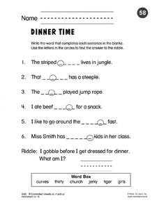 Dinner Time: R-controlled Vowels er, ir and ur Worksheet