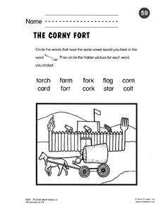 "The Corny Fort: R-controlled Vowel ""or"" Worksheet"
