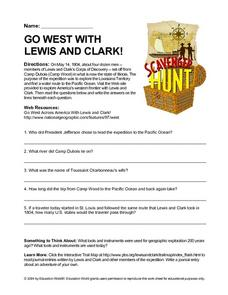 Go West With Lewis and Clark! Scavenger Hunt Worksheet