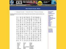 Word Search Puzzle:  Winter Worksheet