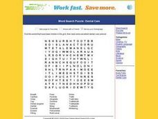 Word Search Puzzle:  Dental Care Worksheet