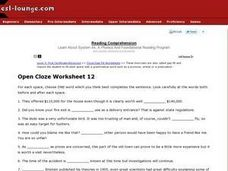 Open Cloze Worksheet 12 Worksheet