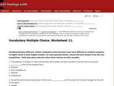 ESL Advanced/Proficiency- Vocabulary Multiple Choice, Worksheet 11 Worksheet
