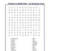 The Woodland Tribes Word Find Worksheet