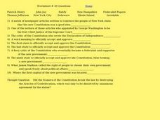 Worksheet #49 - Constitution Worksheet