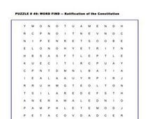 Ratification of the Constitution Word Search Worksheet